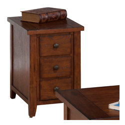 Jofran - Jofran 443-7 Clay County Chairside Table with 3 Drawers in Oak - This collection is beautiful and simply designed. Each-piece is carefully crafted for long lasting beauty. The castered double header cocktail table features four drawers and a shelf. With durable construction you are sure to enjoy this collection for years to come.
