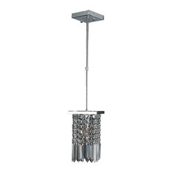 """Worldwide Lighting - Torrent 1-Light Chrome Finish & Clear Crystal 6"""" Square Mini Small Pendant Light - This stunning 16-light Crystal Pendant only uses the best quality material and workmanship ensuring a beautiful heirloom quality piece. Featuring a radiant chrome finish and finely cut premium grade clear crystals with a lead content of 30%, this elegant pendant will give any room sparkle and glamour. Dual-mount option for flush or suspension. Worldwide Lighting Corporation is a privately owned manufacturer of high quality crystal chandeliers, pendants, surface mounts, sconces and custom decorative lighting products for the residential, hospitality and commercial building markets. Our high quality crystals meet all standards of perfection, possessing lead oxide of 30% that is above industry standards and can be seen in prestigious homes, hotels, restaurants, casinos, and churches across the country. Our mission is to enhance your lighting needs with exceptional quality fixtures at a reasonable price."""