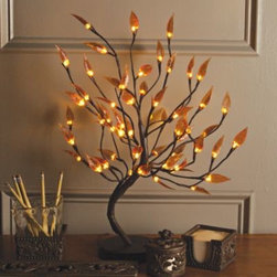 "Gerson Company, The - 22-Inch Brown Wrapped Amber Leaf LED Lighted Tree - Perfect for adding a stylish element to any desktop, this exquisite decorative tree stands 22"" tall and features meticulously wrapped branches in an earthy brown hue, plus beautiful amber-colored leaves accented by 56 warm white LED lights."