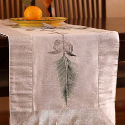 """Elegant Table Runners - Luxurious """"Hand Painted"""" table runner. Snow White color. Great complement for a wedding decor. Indian design."""
