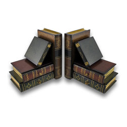 Zeckos - Stack of Hardcovers Bookends with Stash Drawers - Dress up your office or home library with this handsome set of wooden bookends. They are even sophisticated enough to display by themselves These bookends are hand painted in rich greens, browns and gold in a classic style reminiscent of vintage leather bound books. Each end has two stash drawers that pull out that are perfect for hiding away spare keys, earrings or cash They are 6 inches high, 6 inches long and 4 inches wide. They would make a wonderful gift for any book collector or the avid reader