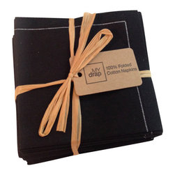 MyDrap - MyDrap Folded Cloth Napkins Bundle, Black - No color can rival the sophistication and elegance of black, and on top of being an attractive hue, the color is also highly versatile and can easily coordinate with virtually any tablescape.
