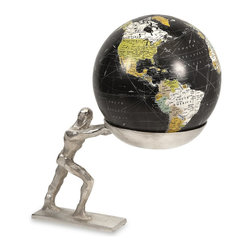 iMax - iMax Man Holding the World Globe X-14991 - As a desk accessory or global room d�_cor, this statuary features an aluminum man holding the whole world in his hands.