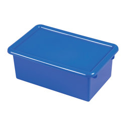 Ecr4kids - Ecr4Kids Heavy Duty Plastic Stack And Store Tub With Lid - Blue, 12 Pack - Fits most standard cubby units that are 14D or more. Heavy-duty polypropylene plastic with rounded edges for safety. Includes matching color lid. Available in RedRD, BlueBL, YellowYE, GreenGN or ClearCL.