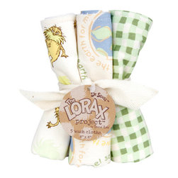 "Trend Lab - Bouquet 5 Pack Wash - Dr. Seuss The Lorax - Trend Lab's Dr. Seuss The Lorax Wash Cloth Set makes bath time fun! Set features 5 unbleached cotton wash cloths with Lorax prints on the front and absorbent unbleached cotton terry on the back. Wash cloth patterns include: one ""Save the Earth for me"" print, two Lorax and Truffula tuft scatter prints, one ""I speak for the trees"" print, and one gingham print all in the color palette of blue fog, sunshine yellow, avocado, honeydew, squash, brown sugar, pumpkin and chocolate. Each wash cloth measures 8"" x 8"". Wash Cloths coordinate with the Dr. Seuss The Lorax collection by Trend Lab. Product sold under license from Dr. Seuss Enterprises, L.P. The Lorax Project is a multifaceted initiative that helps generate funding, raise awareness and inspire earth-friendly action by generations of passionate individuals worldwide. Trend Lab is proud to help save the earth for our little ones."