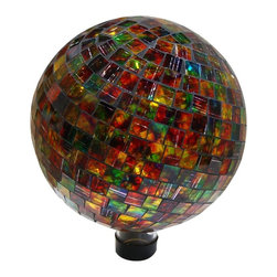 Alpine Fountains - Mosaic Gazing Globe - Made of Mosaic Glass . 1 Year Limited Warranty. Assembly Required. Overall Dimensions: 10 in. L x 10 in. W x 11 in. H (2.65 lbs)Liven up your outdoors with our amazing gazing globe collection for an enchanting and colorful display. Use them as an accent to your patio or move them out in to the garden to create a perfect centerpiece for your favorite outdoor setting.