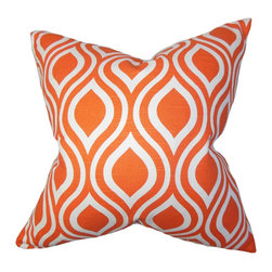 The Pillow Collection - Larch Geometric Pillow Orange - This beautifully crafted toss pillow gives your home an instant update with its eye-popping detail. Add a modern touch to your living room or bedroom by tossing this accent pillow on your sofa, bed or sectional. It complements well with solids and other patterns, which makes it an ideal statement piece. Constructed with 100% soft cotton material and proudly made in the US. Hidden zipper closure for easy cover removal.  Knife edge finish on all four sides.  Reversible pillow with the same fabric on the back side.  Spot cleaning suggested.
