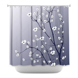DiaNoche Designs - Shower Curtain Artistic - Blooming Tree Blue Grey - DiaNoche Designs works with artists from around the world to bring unique, artistic products to decorate all aspects of your home.  Our designer Shower Curtains will be the talk of every guest to visit your bathroom!  Our Shower Curtains have Sewn reinforced holes for curtain rings, Shower Curtain Rings Not Included.  Dye Sublimation printing adheres the ink to the material for long life and durability. Machine Wash upon arrival for maximum softness. Made in USA.  Shower Curtain Rings Not Included.