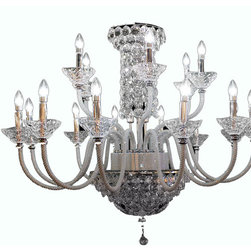 Royal Crystal LIghting - Royal Crystal Lighting Crystal Chandelier 18 Lights - Bling Bling Crystal Chandelier on the arms and body. Clean and Modern look. Exclusively offered by Royal Crystal Lighting.