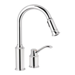 Aberdeen Chrome One-handle High Arc Pull-down Kitchen Faucet - This faucet is beautiful and functional.