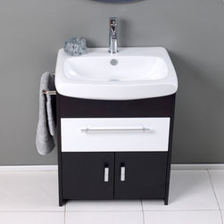 """Fresca - Fresca Distinto 27"""" Modern Single Sink Vanity Set w/ Wenge Wood Finish - Great for small bathrooms, the Distinto is your answer. This mostly dark wenge wood vanity utilizes cleverly constructed and executed storage spaces that contrast wonderfully with a white sink and white middle drawer. Mirror with matching dark wenge wood accents. Many faucet styles to choose from. Optional side cabinets are available."""