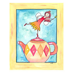 Oh How Cute Kids by Serena Bowman - Harlequin Teapot Fairy, Ready To Hang Canvas Kid's Wall Decor, 8 X 10 - Coffee, Tea or with me.  Here is one of my Tea Time Girls!  How cute are they!!