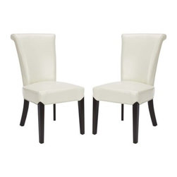Safavieh - Kiera Side Chair (Set Of 2) - Flat Cream - The Kiera side chair reworks a classic, slightly feminine, dining form by upholstering it in contemporary flat cream leather. Espresso finish on the legs completes the look.