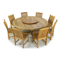 Westminster Teak Furniture - Buckingham 9pc Teak Wood Dining Set - 9pc Westminster Teak Round Dining Set includes the 6ft diameter Buckingham Round Table and 8 Veranda Teak Dining Chairs.  Lifetime Teak Warranty.  Accommodates optional umbrella.