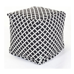 Majestic Home - Outdoor Black Bamboo Small Cube - What could be cooler than this updated beanbag that serves as a footstool, side table or comfy seat — indoors or out? Maybe the fact that the stylish bamboo pattern is printed on easy-care cotton twill so you can just unzip the slip and toss it in the wash.