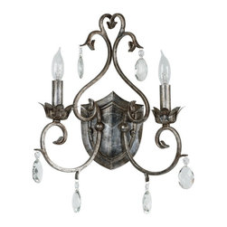 Kenroy Home - Kenroy 91342WS Antoinette 2 Light Sconce - Like vintage jewelry, this grouping in a Weathered Silver finish and cut glass accents will put your exquisite taste on display.  Delicate curves, with a French design influence, let Antoinette hang with a sumptuous aristocratic air.