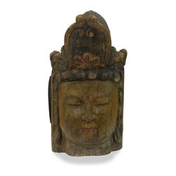 China Furniture and Arts - Hand Carved Teakwood Buddha Head - Buddha, came to be the most frequently worshipped god in Asia, and is still celebrated today. It is a symbol of unexpected good fortune. This Buddha statue stands as an eye-catching piece of art in any room and is a one-of-a-kind piece to collect. Hand carved in solid teakwood with great attention to detail. Matching stand sold separately, please see Part No. RB109510