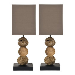 Safavieh - Samantha Mini Table Lamp (Set Of 2) LIT5017 - Natural, Brown Shade - Inspired by antique Tuscan terra bianca pottery, the crackle cream ceramic Marquesa Vase Lamp is adorned with embossed trailing vine leaves. Finished to reveal earthy clay beneath the glaze, this rustic design is complemented with cream cotton shade in linen-weave texture and silver fittings.