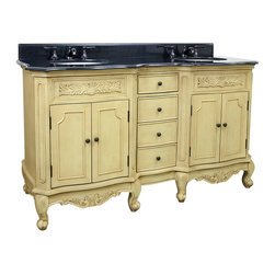 "Hardware Resources - 0-7/8"" Wide MDF Double Vanity VAN061D-60-T - This 60-7/8"" wide MDF double vanity features carved floral onlays and French scrolled legs for a traditional feel. The buttercream finish with antique crackle finish is created by hand, making each piece unique. Two large cabinets with a center bank of fully functional drawers provide ample storage.  This vanity has a 2CM black granite top preassembled with two H8809WH (15"" x 12"") bowl, cut for 8"" faucet spread, and corresponding 2CM x 4"" tall backsplash.  Overall Measurements: 60-7/8"" x 22-7/8"" x 35-3/4"" (measurements taken from the widest point) Finish: Painted Buttercream Material: MDF Style: Traditional Coordinating Mirror(s): MIR061 Bowl: H8809WH"