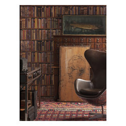 Kathy Kuo Home - Wall Of Books Library Wallpaper - Multi - Flaunt your bookish side with this whimsical wall covering. Available in your choice of muted colors, the coated paper if perfect for an accent wall in your well-read world.