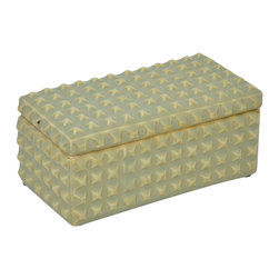 Light Green Studded Ceramic Box - Store away office supplies, jewelry, or sweet cards from dear friends. This elegant studded box, glazed with a smooth light green crackle finish, is the perfect place for beautiful treasures.