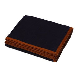 Kanata Blanket Co. - Trail Series Wool Blanket - 50x60 - Navy - Premium quality wool blanket.  Two sided brushing adds extra softness.  Bordered with double stitched, hand-sewn complementary felt edging and hand trimmed for ultimate finish look.