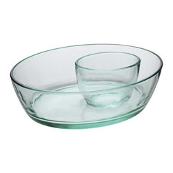 Luigi Bormioli - Luigi Bormioli Recycled Chip-and-Dip Glass Set - Entertain new ideas for going green. Made from recycled glass, this chip-and-dip set adds environmentally conscious elegance to all your parties and gatherings. From Luigi Bormioli.