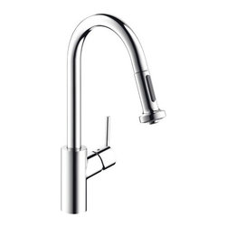 Hansgrohe - Hansgrohe 14877 Talis S Pull-Down Kitchen Faucet with HighArc Spout, Magnetic Do - Product Features: Assembled in the USA (Alpharetta, GA)All-brass faucet body and handle constructionHansgrohe's limited lifetime warrantyErgonomic pull-down with full and needle sprays enhances the faucets versatilityNon-locking spray diverter, hold and release for spray modeSpout swivels 150-degrees providing greater access to more areas of the sinkHighArc spout design provides optimal room under the faucet for any size taskMagFit magnetic spray head dockingM2 ceramic cartridge for a lifetime of smooth operationADA compliant - complies with the Americans with Disabilities Act for kitchen faucetsLow lead compliant - meeting federal and state regulations for lead contentProduct Specifications: Overall Height: 16-1/8� (measured from counter top to highest part of faucet)Spout Height: 8-7/8� (measured from counter top to spout outlet)Spout Reach: 8-3/4� (measured from center of faucet base to center of spout outlet)Number of Holes Required for Installation: 1Flow Rate: 2.2 GPM (gallons-per-minute)Maximum Deck Thickness: 1-3/4�Designed for use with standard U.S. plumbing connectionsAll hardware needed for mounting is included with faucetWhy Buy Hansgrohe 14877 Kitchen Faucet From Us: We are a Hansgrohe Authorized Online Dealer for Guaranteed Warranty CoverageCustomer Care Experts Available 7 Days a Week to Serve You Before & After PurchaseA Showroom Experience from the Comfort of Your Home or OfficeProduct Technologies and Benefits: QuickClean: Calcareous water, dirt, cleaning agents; faucets and showers have to be able to withstand a lot. QuickClean technology gives you the power to make residues disappear in an instant. With the silicon nozzles Hansgrohe has fitted to its faucet aerators and shower jets, dirt and lime scale can be rubbed off with ease. This innovation adds infinite value, as products that are well maintained and lime scale free remain functional and last lon