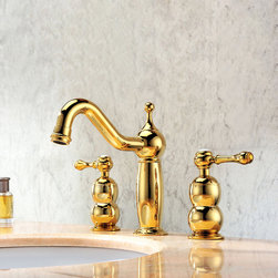 Trunk Gold Deck Mount Widespread Sink Faucet - This Trunk deck mounted widespread sink faucet features traditional styling that will bring a feel of classic decor to your bathroom. Constructed from solid brass for durability and reliability, finished in a high quality, corrosion resistant Ti-PVD Gold.