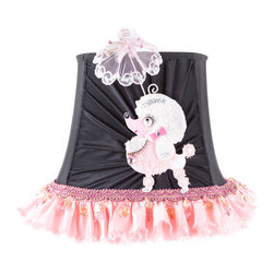 Brandi Renee Designs - All Lit Up Princess Pink Poodle Lamp Shade - Our All Lit Up Princess Pink Poodle lampshade will bring the perfect bit of whimsy to any room in your home! The black shade's front features our petite French poodle and a matching parasol. The poodle shade is wrapped in a delicate pink ruffled skirt. The coordinating pink beading is the perfect finishing touch. Like every BRDesign lampshade, the All Lit Up Princess Pink Poodle lampshade is handcrafted from the finest quality materials.