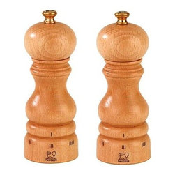 "Peugeot - Peugeot Paris u'Select 7"" Natural Salt & Pepper Mill - The high quality beech wood used in Peugeot mills is grown, harvested, dried, shaped and finished in France. This Peugeot Paris Salt & Pepper Mill Set has a beautiful natural varnished finish. For Paris u'Select mills, the grind is adjusted by turning the ring at the bottom of the mill. Turning the ring in one direction makes the grind finer, turning in the other makes it coarser. Once the grind size is set, it will stay in place until the user changes it.   Peugeot uSelect is a patented system that enables precise grind adjustment settings. 6 pre-defined levels of grind for pepper and 6 pre-defined levels of grind for salt.  The entire Peugeot mill is guaranteed against manufacturing and materials defect for 2 years from the date of purchase, however the grinding mechanism carries a similar guarantee for lifetime. These guarantees do not cover normal wear, accidental damage or any use not in accordance with the instructions provided. Buy One Get One 1/2 OFF pricing on this Salt & Pepper grinder together!"