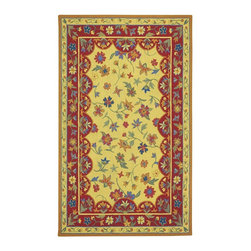 Capel - Transitional Lorraine 7'x9' Rectangle Amber-Red Area Rug - The Lorraine area rug Collection offers an affordable assortment of Transitional stylings. Lorraine features a blend of natural Red Poppy color. Hand Hooked of 100% Wool the Lorraine Collection is an intriguing compliment to any decor.