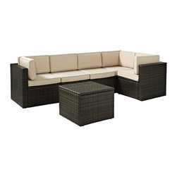 Crosley - Palm Harbor 6 Piece Outdoor Wicker Seating Set - Three Corner Chairs, Two Center - Dimensions: 26.8 x 43.5 x 25.5 inches
