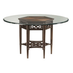 Lexington - Tommy Bahama Home Royal Kahala Sugar and Lace Table Base - Decorative sugar cane top with Asian button knot inspired pierced carvings on the apron. Glass top sold separately.