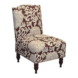 Coventry Armless Nail Button Chair - Chocolate - What a bold, yet simple lined chair for a bedroom or living room.