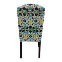Sole Designs - Flora Cotton Parson Chair (Set of 2) - Add a dash of color to your home decor with these Divani Designs Purple Passion Camelback Chairs. These chairs feature a purple and white fabric upholstery and a soft foam fill for added comfort. Features: -Set of 2.-Upholstery: 100% Cotton fabric.-Camelback.-Espresso legs.-Straight legs.-Fire retardant foam.-Wipe clean.-Made in the USA.-Frame construction: Hardwood.-Finish: Wood.-Distressed: No.-Country of Manufacture: United States.Dimensions: -Overall dimensions: 41'' H x 21'' W x 24.5'' D.-Overall Product Weight: 23 lbs.