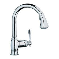 Grohe - Grohe 33870000 Dual Spray Pull Down In Starlight Chrome - Grohe 33870000 from the Bridgeford Faucet Collection features modern function and traditional style providing the feel of a simpler time that complement a Victorian design. Mounting and assembly hardware has been meticulously hidden from view and water control is made effortless with SilkMove. The Grohe 33870000 is a Dual Spray Pull Down With a dazzling and highly reflective Chrome finish.