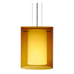 Besa Lighting - Besa Lighting 1KG-G00607-NI Pahu 1 Light Cable-Hung Pendant, Satin Nickel - The Pahu is a distinctive double-glass pendant, with an inner opal cylinder centered within a transparent outer glass Our Trans-Armagnac glass is a colored transparent blown glass. The amber glow has a low key harmonious display that exudes a warm mood. When lit the glass is vitalizing as well as stylish. This blown glass is handcrafted by a skilled artisan, utilizing century-old techniques passed down from generation to generation. The cable pendant fixture is equipped with three (3) 10' silver aircraft cables and 10' AWM cordset, and a low profile flat monopoint canopy.Features: