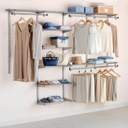 "Rubbermaid - Rubbermaid Configurations 4 - 8 ft. Titanium Deluxe Closet Kit -FG3H8900TITNM Mu - Shop for Closet from Hayneedle.com! Find out just how big your closet really is when you save space with the adjustable customizable Rubbermaid Configurations 4-8 ft. Titanium Deluxe Closet Kit - FG3H8900TITNM. This titanium finished kit is great for organizing your closet according to season work leisure or fashion. It features telescoping rods and expandable shelves deserving of the name deluxe that can provide up to 20 feet of shelving space and 12 feet of hanging space. You'll be mesmerized by what your closet is capable of holding when you use this top-of-the-line organizer.Pieces IncludedSeven 26-inch shelvesTwo 48-inch shelvesTwo 48-inch top rails19 bracketsFive 47.5-inch uprightsTwo 25-inch upright extensions2 hang rodsAbout RubbermaidRubbermaid represents innovative high-quality products that make life a little simpler. Starting with housewares Rubbermaid has expanding into various areas including home and garden and commercial products. Rubbermaid has been recognized as a ""Brand of the Century"" and is one of only 100 companies named as having an impact on the American way of life. Headquartered in Atlanta GA. Rubbermaid can be found almost anywhere from grocery stores to hardware stores to your own kitchen.Being involved in the local community is a cornerstone of the Rubbermaid company and they continually invest in programs that matter to employees and enrich the lives of everyone from child to adult."