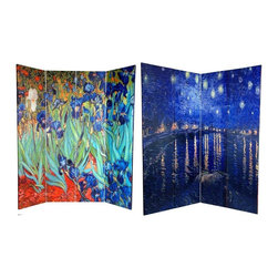 Oriental Furniture - 6 ft. Tall Double Sided Works of Van Gogh Canvas Room Divider - Irises/Starry Ni - This lovely fine art screen features the classic impressionist paintings of Dutch master Vincent Van Gogh. The front is considered to be one of Van Gogh's greatest masterpieces,  Irises circa 1889 , part of the Getty collection. On the back is a less well known but equally breathtaking painting,  Starry Night Over the Rhone circa 1888 , similar to his legendary  Starry Night . Adorn your living room, bedroom, dining room, home office, or business with these lovely interior design elements. This four panel screen has different images on each side, as shown.