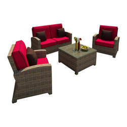 Forever Patio - Cypress 4 Piece Outdoor Wicker Sofa Set, Flagship Ruby Cushions - The Forever Patio Cypress 4 Piece Wicker Outdoor Sofa Set with Red Sunbrella cushions (SKU FP-CYP-4SS-HR-FB) will turn any patio into a cozy outdoor spot. The set seats up to 4 adults comfortably, and features Heather resin wicker with a half round design that creates a complex and luxurious look. Every strand of this outdoor wicker is made from High-Density Polyethylene (HDPE) and is infused with its natural color and UV-inhibitors that prevent cracking, chipping and fading ordinarily caused by sunlight, surpassing the quality of natural rattan. The patio sofa set is supported by thick-gauged, powder-coated aluminum frames that make it extremely durable and resistant to corrosion. Also included are fade- and mildew-resistant Sunbrella cushions. The blend of highly-textured wicker, contemporary frame style and your choice of seat cushions will make this modern outdoor sofa set one to enjoy for years to come.