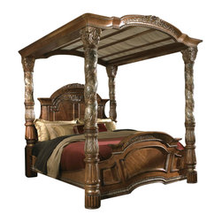 AICO Furniture - Villa Valencia Poster Canopy Bed in Classic Chestnut by Michael Ami... - The essence of the City of Valencia can be found in the traditional architecture and dramatic natural settings of the Villa Valencia Poster Canopy Bed in Classic Chestnut. The vibrant and romantic lifestyle of Old World Spain has been beautifully captured in this grand bed.