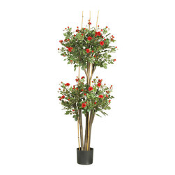 Nearly Natural - 5' Mini Rose Silk Tree - Rose enthusiasts will adore this topiary style mini-rose silk tree. With its popular double ball pattern, this elegant work of art is a refreshing change from traditional topiary shrubs. Dainty delicately crafted crimson petals and fresh miniature buds fill each sphere shaped bloom. A full 5' high, this enchanting beauty makes a bold statement despite its feminine charm and appeal.