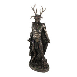 Bronze Celtic God Cernunnos Statue Standing - Cernunnos, known to the Celts as `The Horned One,` is the stag antlered God of the Forest, God of Prosperity and God of the Underworld. He often carried a bag filled with coins, and was purported to be a shape-shifter with the ability to turn himself into any animal. His antlers are regarded as symbols of virility and fertility. The Horned God is born at the winter solstice, marries the goddess at Beltane, and dies at the summer solstice, representing the growing season and bountiful harvests. This cold cast resin statue stands 10 3/4 inches tall, 3 1/2 inches wide, and 4 1/2 inches long. The beautiful bronze finish and hand-painted accents highlight the incredible detail in this piece, from the antlers to the textured fur. It looks great on mantels, bookshelves, desks, or anywhere in your home or office.