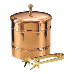 "7""Dia.x 8¾""H. Décor Copper Lined Ice Bucket w/Brass 7¼"" Tongs, 3 Qt. - Elegant Décor Copper lined ice bucket with brass tongs. Insulating plastic liner helps keeps ice frozen longer. Brass tongs included. 3 quart capacity.  Copperplate over steel with a tarnish-resistant finish."