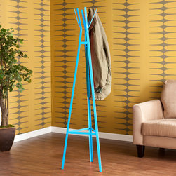 Upton Home - Upton Home Brayden Blue Metal Hall Tree - Add a creative and fun touch to your home decor with this blue metal hall tree. The triangular base of the tree tapers up to the top,creating a playful pyramid. With 6 hanging hooks,this delightful tree adds functionally and style to any room.