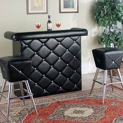 "Asia Direct - Black Tufted Vinyl Front Bar Table with Tufted Rail Pad - Black tufted vinyl front bar table with tufted rail pad. Has two shelves behind bar. Bar stools available separately, and not included. Measures 52"" x 19"" x 39 1/2"" H. Some assembly required."