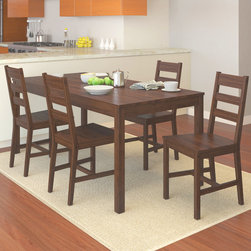 CorLiving - CorLiving DTC-874-T Brown Stained 5-piece Kitchen Set - Add comfort to your kitchen with this practical shaker styled table and four chair set from CorLiving. The solid wood construction of this set is complemented by the dapper brown stain for a look that works well with any home decor.