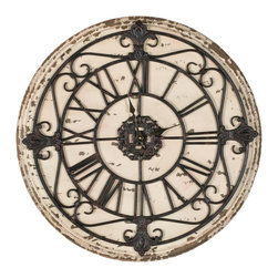 Safavieh - Safavieh Jerry Antiqued Rust Clock - Classic and timeless in design, the Jerry wall clock is crafted with distressed fir wood face and charming metal scroll detail. As much decorative as functional the Jerry clock's Old World elegance.