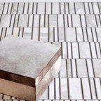 Corridor Stone Mosaic - Corridor, a stone mosaic, is shown in Calacatta Tia polished and Montevideo honed.